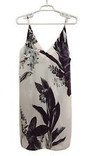 OSKLEN Womens Mini-Dress Spaghetti Strap V-Neck White Tropical Floral Print Sz M