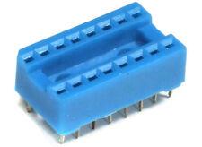 DIL DIP-16-Pin IC Chip Socket Holder Blue / Sockel Fassung Halterung Blau 2.54mm