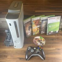 Microsoft Xbox 360 Console 60GB HDD 1  Controller Power Cables 5 Games Working