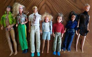 """Lot of 7 Vintage 1966 Barbie/1968 Ken smaller 8"""" dolls 1967."""