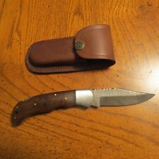 Big Damascus folder with walnut color wood handles  & leather sheath hand made