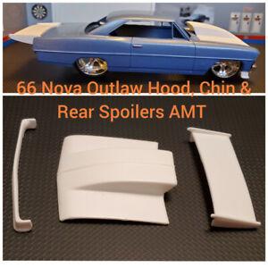Resin Outlaw Hood, Chin Spoiler & Rear Spoiler Wing for '66 Nova AMT 1/25