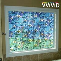 """White Twining Flower stained glass window film vinyl 36/"""" x 36/"""" Privacy DIY E0057"""