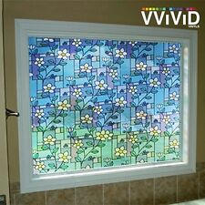 """Frosted Flower Tile Window Glass Decorative Privacy Home Vinyl Film 24"""" x 36"""""""