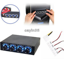 """3.5"""" PC HDD CPU 4 Channel Fan Speed Controller Control Led Cooling Front Panel"""