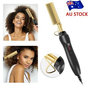 Electric Beard Hair Straightener Brush Fast Heated Comb Hot Flat Styling Tool AU