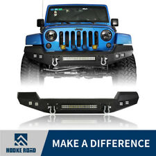 Hooke Road Off-road Front Bumper+LED Lights+D-Rings for Jeep Wrangler  JK 07-18