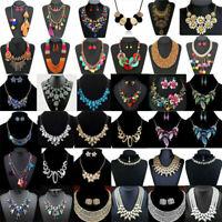 Women Fashion Crystal Pendant Chunky Necklace Bib Choker Statement Chain Jewelry