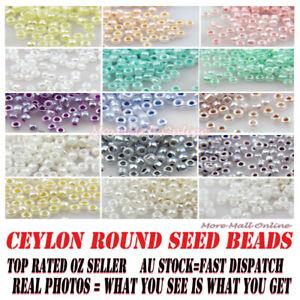 VIVI BEADS VaR Ceylon Round Glass Seed Beads Pearl MGB Jewelry Craft DIY Decor
