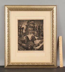1945 Pencil Signed JOSEF WARKANY Social-Realist WWII Anti-Nazi Etching Print NR