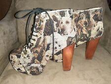 JEFFREY CAMPBELL-LITA-Platform Dog Tapestry-BOOTIES-Rare-Size 39-Excellent