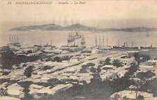 Noumea New Caldonia panoramic view town boats in harbor antique pc Z29969