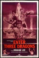 ENTER THREE DRAGONS Dragon Lee 1978 ONE Sheet Movie Poster 27 x 41 Authentic