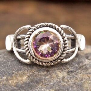 Mystic Topaz Gemstone Solid 925 sterling Silver Women Ring Size US 6