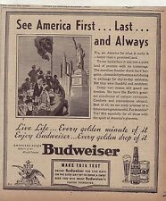 1938 newspaper ad for Budweiser Beer, Immigrants arrive in US, Statue of Liberty
