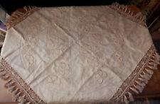 NAPPE BRUNE ANCIENNE BRODERIES ET DENTELLES MAIN  88 X 82 cm