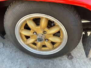 MG MIDGET 5 X 13 ANTHRACITE ALLOY WHEELS WITH POLISHED RIM 2 WHEELS ONLY
