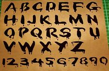 NEW L1 BLOODY LETTERS NUMBERS TEXT FONT Airbrush Stencil Template Zombie Blood