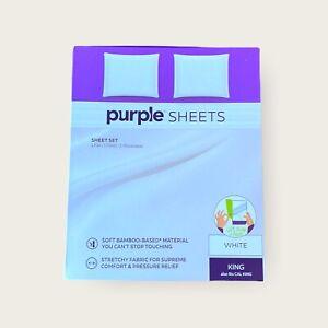 Purple Mattress Bamboo Sheet Set White King / California Flat Fitted Pillowcases