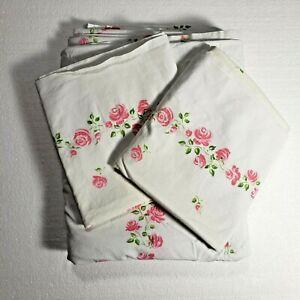 Vintage CANON Rose Pink White FULL Flat Sheet 2 Pillowcases Set Percale Pima