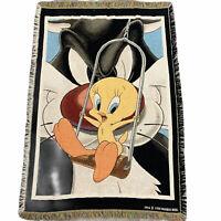 Vintage Tweety Bird & Sylvester the Cat Throw Rug Blanket Warner Bros 1998