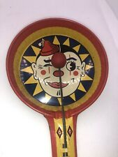 VINTAGE Pressed Tin Litho-NOISE-MAKER Clown Kirchhof Party Favor Wood Clangers