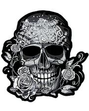Patch écusson Lady Rider Skull Pirate Strass Gilet GF thermocollant moto custom