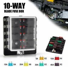 10Way Blade Fuse Box w/LED Warning Light LED Illuminated Automotive Fuse Block