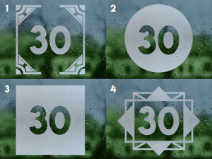 Etched Glass Style - House Number Window Sticker / Decal - 4 designs / 3 sizes