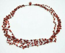 Red Spiney Oyster Shell Nugget Bead Beaded Multi-Strand Necklace