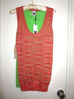 NWT Missoni Orange & Green Shirt 4 XS / S Sleeveless Tank Tunic Top Italy 40