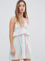 NEW ASOS DESIGN PETITE Candy Stripe Halter Frill Beach Dress Sizes 8/12/14/16
