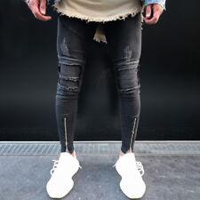 Herren Ripped Frayed Jeans Hosen Slim Destroyed Jeanshose Stretchy Skinny Hose