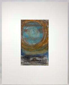Original~Artisan Made~Encaustic Painting~Monotype~Matted~Signed~Free Shipping