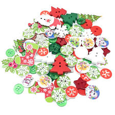 100 Mix Christmas Resin & Wood Flatback & Buttons Craft Cardmaking Embellishment