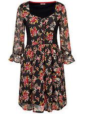 Joe Browns BLACK Long Sleeve Ditsy Print Blouse Tunic Top - Plus Size 14 to 32