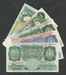 ENGLAND 1 Pound £1 choose Cashier from 1934-88 English British Banknotes