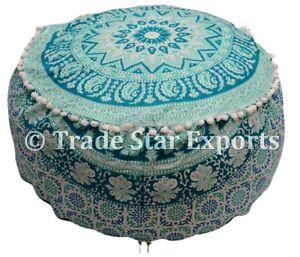 Mandala Ottoman Pouf Cover Boho Large Floor Pouf Footstool Cotton Bean Bag Cover