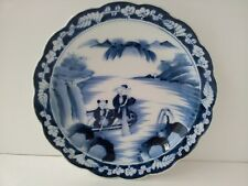 Hand Painted Japanese Blue and White Porcelain Plate