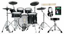Super E-Drum Set mit Mesh Heads, Holzkesseln, Rack, Hocker, Kopfhörer und Sticks