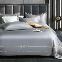 Egyptian Cotton Gray Bedding Sets Queen King Size Duvet Cover Flat bed Sheet Set