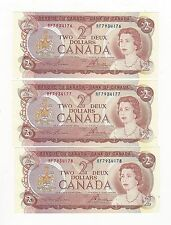 **1974**Canada $2, Crow/Bouey #RF 7934176/77/78 ,3 Seq. Notes BC-47a