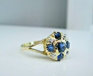 Antique Victorian 18ct Yellow Gold Natural Old Rose Cut Diamond & Sapphire Ring