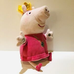 """Peppa Pig Plush Soft Toy With Crown Sings Ring A Ring Of Roses 12"""" Rare"""