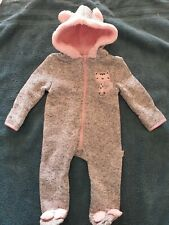 Duck Duck Goose baby Girl's One Piece Footed w/ Hood Pink Gray Cat 0 - 9 M NWT