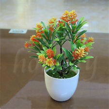 NEW Artificial Flower Leaf With Flower Plant Pot Home Office Garden Party Decor