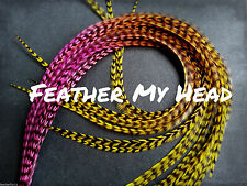 Ombre Multi Color Tie Dye  Whiting Feather Hair Extension Real Rooster Feathers
