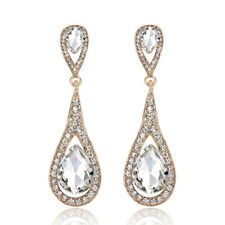 Fashion Women Waterdrop Crystal Rhinestones Drop Dangle Earrings Wedding Jewelry
