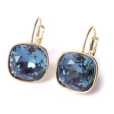 Navy Blue Golden Crystal Drop Earrings w/ Cushion Cut Swarovski Rhinestone 4470