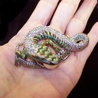 CORO CRAFT COROCRAFT Sterling 'Jewels of Fantasy' Enamel & Pave Lizard w/Egg Pin